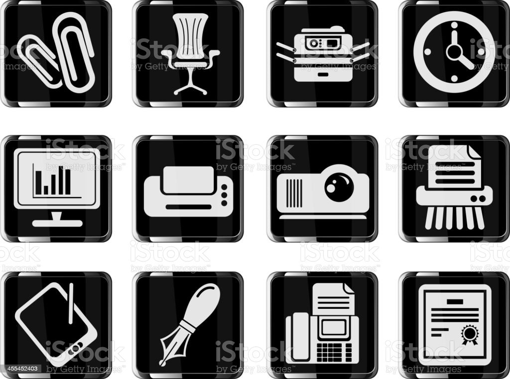 Office glass vector icons royalty-free stock vector art