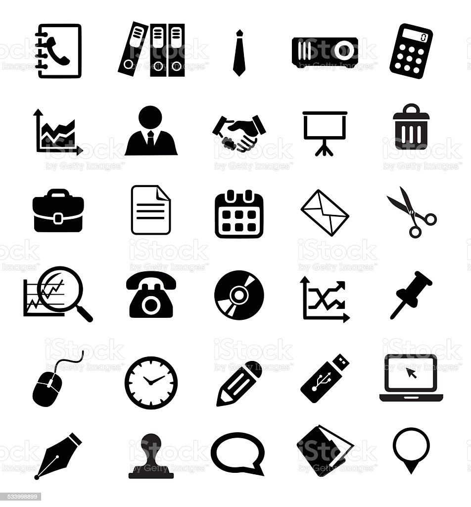 Office icon set vector illustration vector art illustration