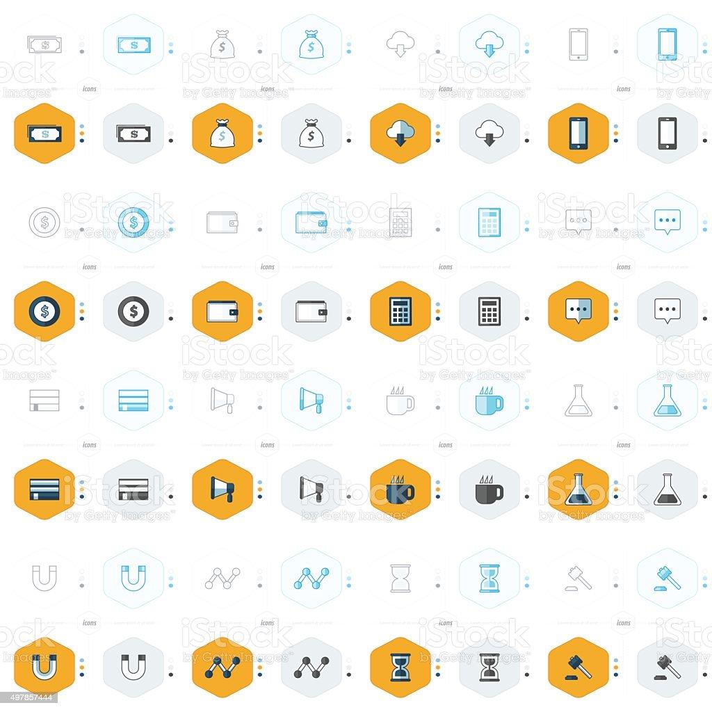 office icons 16 design 4 styles vector art illustration