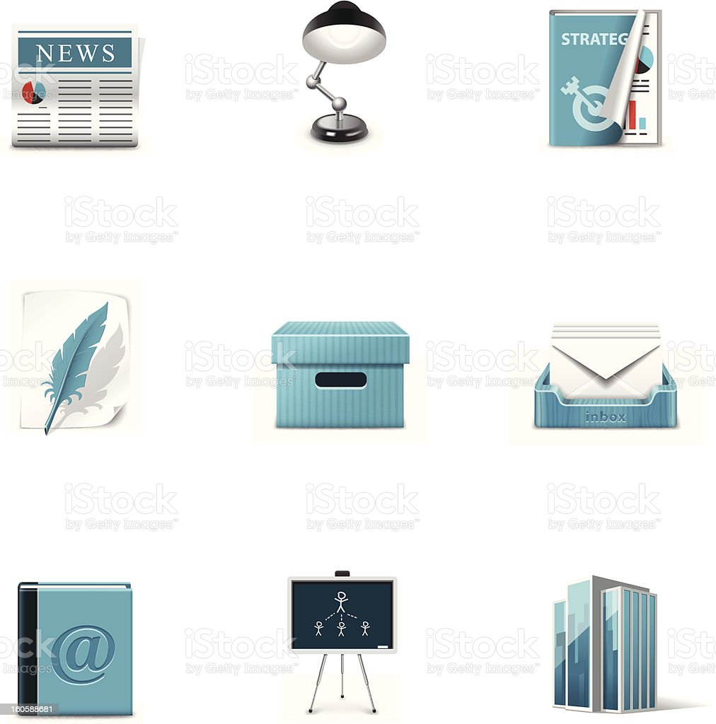 Office icons. Azzurro series royalty-free stock vector art