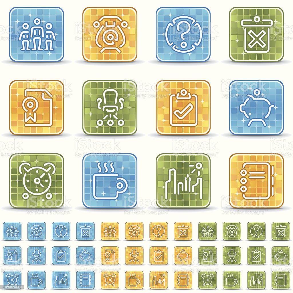 office icons - brillante cuadrado royalty-free stock vector art