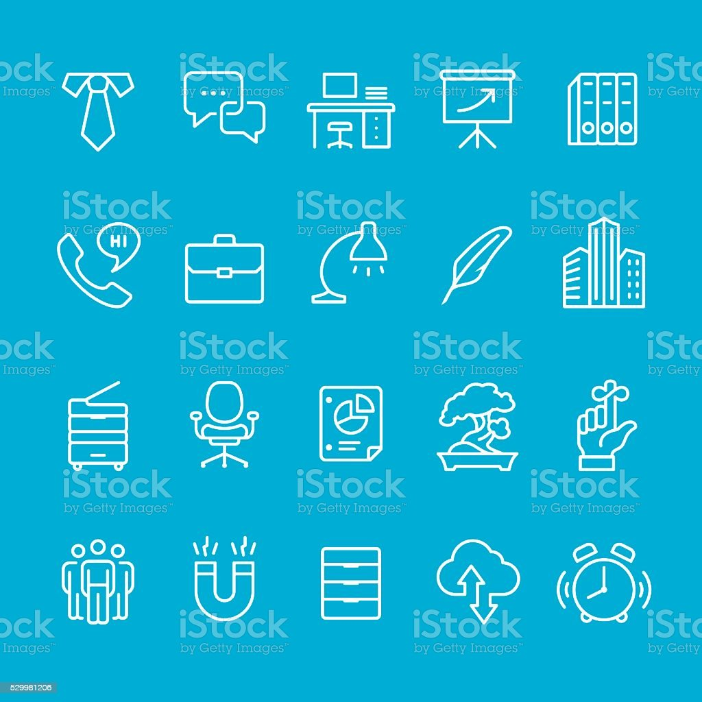 Office icons collection vector art illustration
