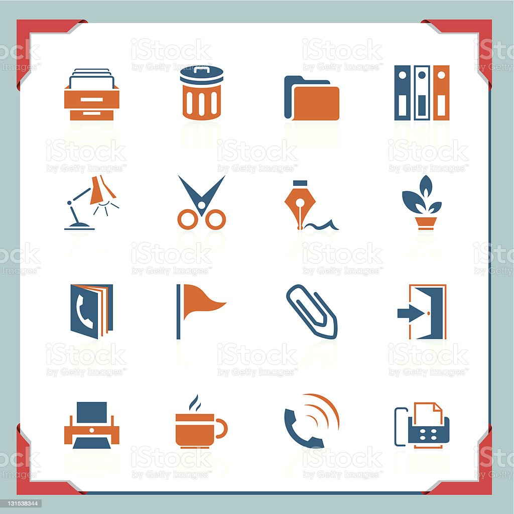 Office icons   In a frame series royalty-free stock vector art
