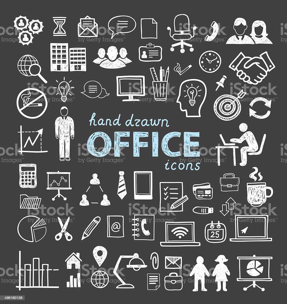 Office icons in hand drawn style. Internet, network, communication symbols. vector art illustration