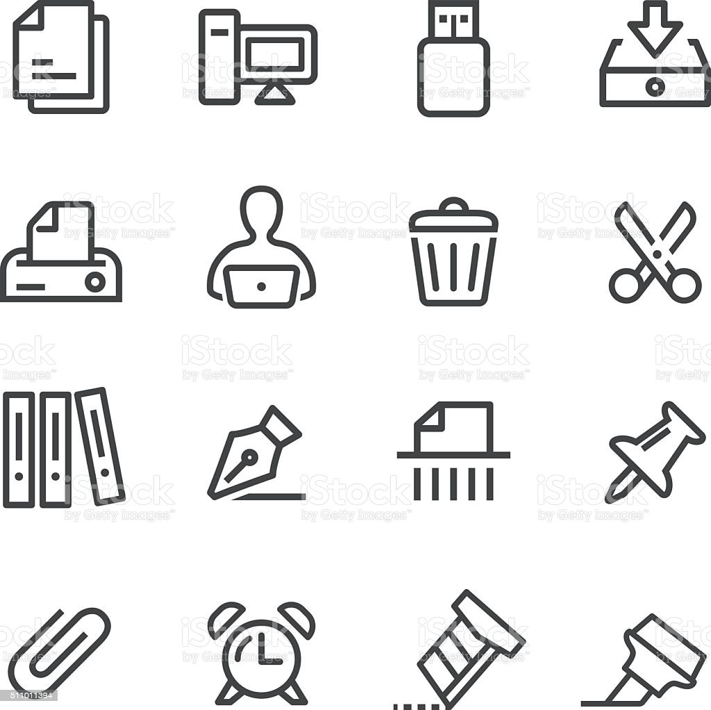 Office Icons - Line Series vector art illustration