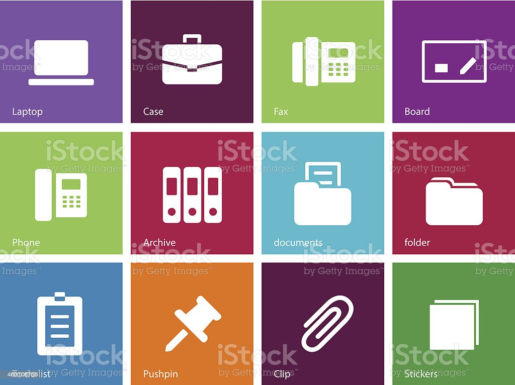 Office icons on color background. vector art illustration