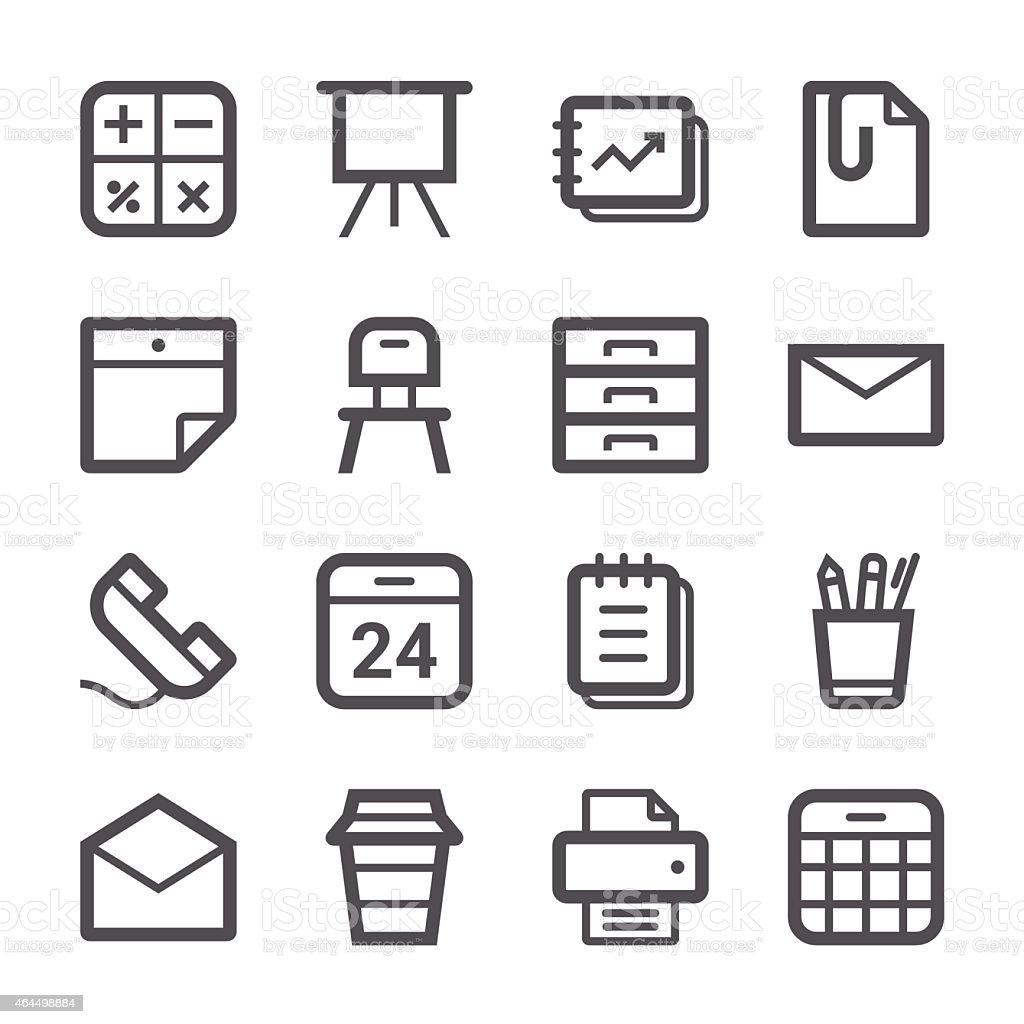 Office Icons set 1 | Stroke Series vector art illustration