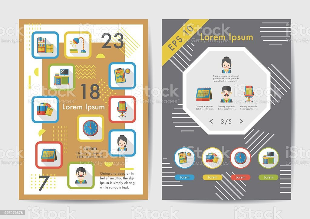 Office icons set with long shadow,eps10 vector art illustration