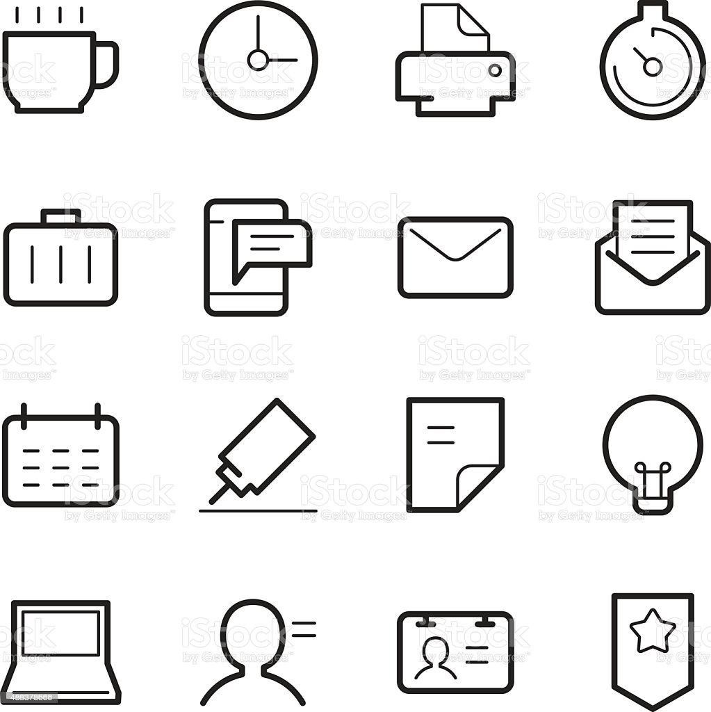 office icons vector art illustration