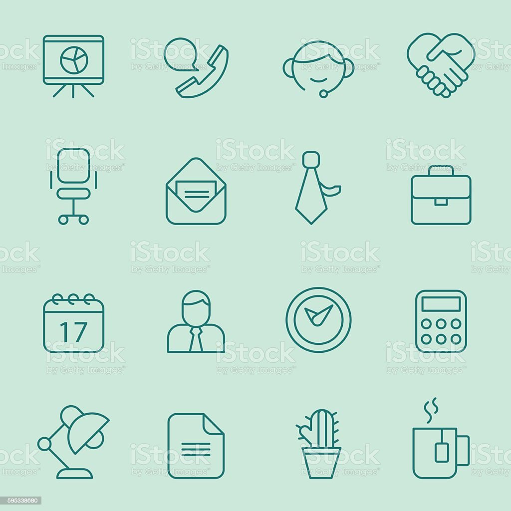 Office icons. vector art illustration