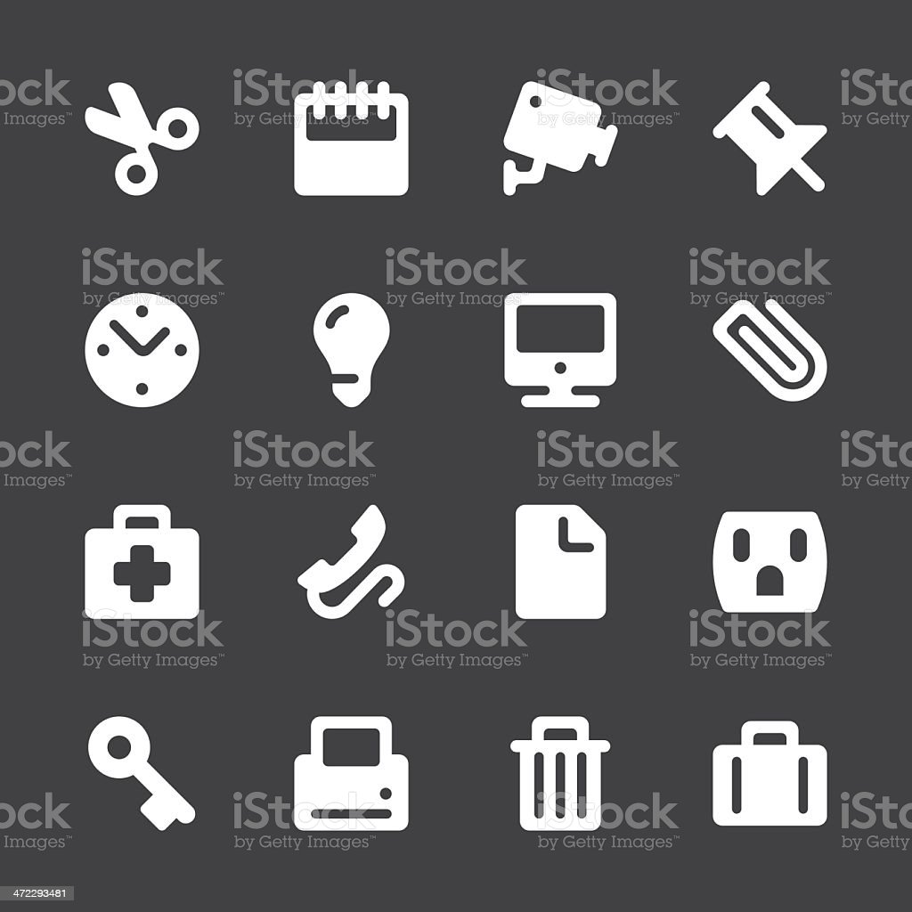 Office Icons - White Series   EPS10 royalty-free stock vector art