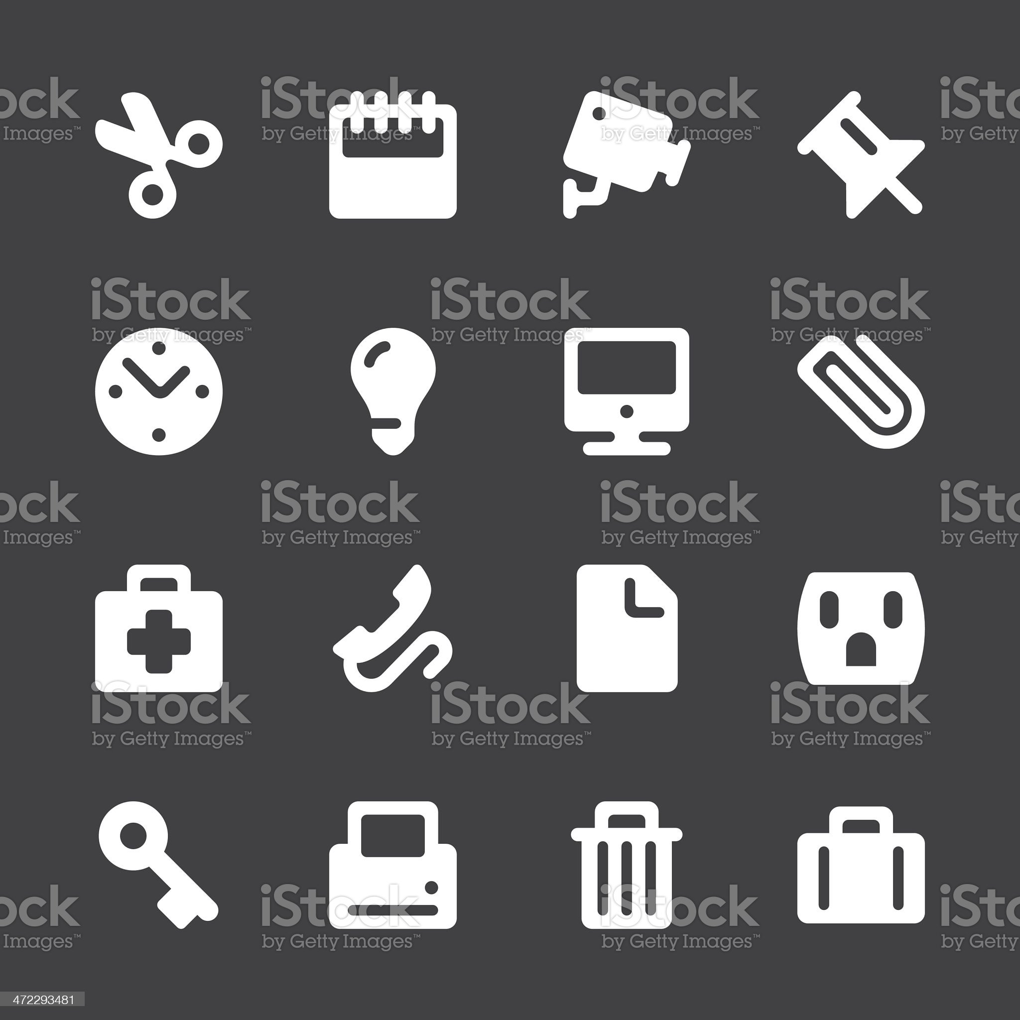 Office Icons - White Series | EPS10 royalty-free stock vector art