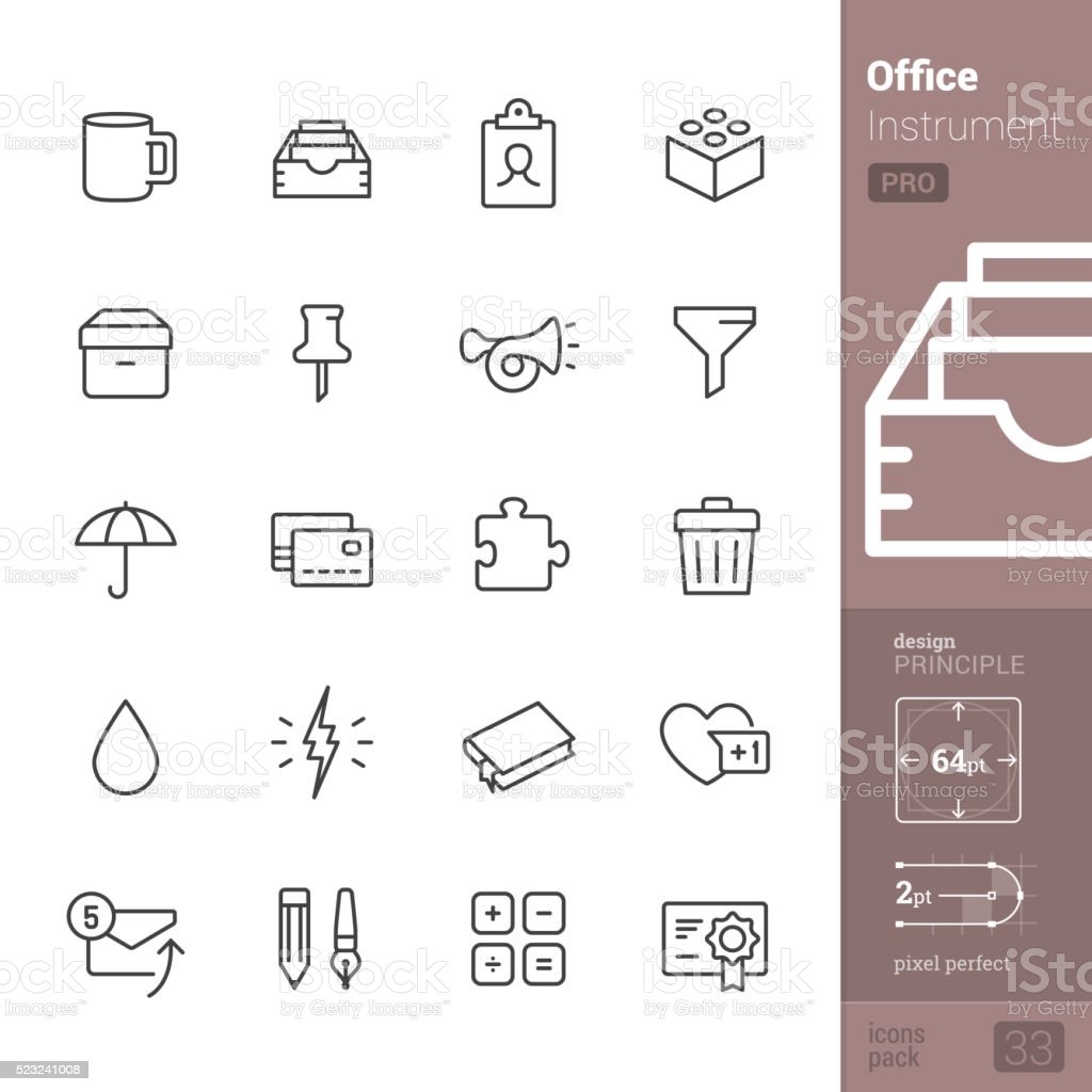 Office Instrument vector icons - PRO pack vector art illustration