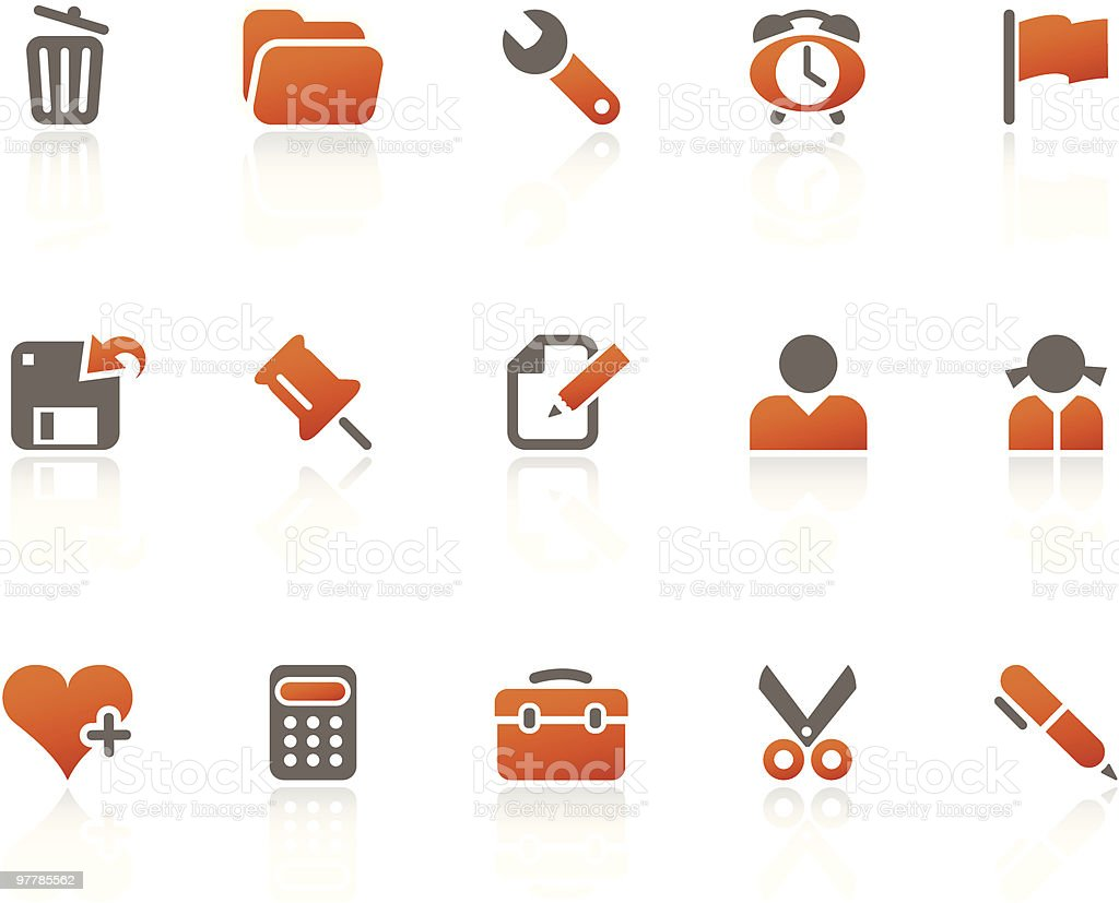 Office + Interface icons / tangerine series royalty-free stock vector art