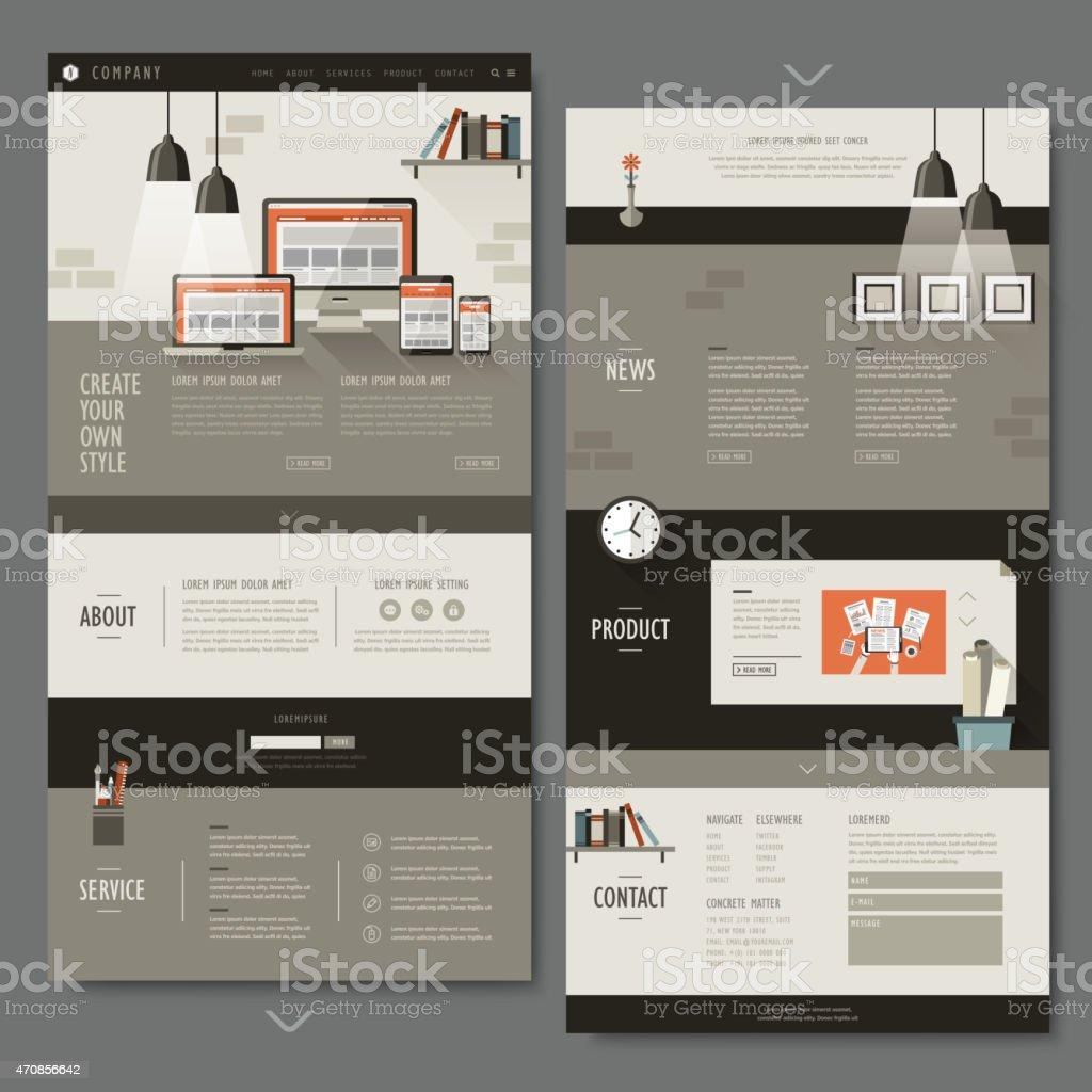 office interior one page website design vector art illustration