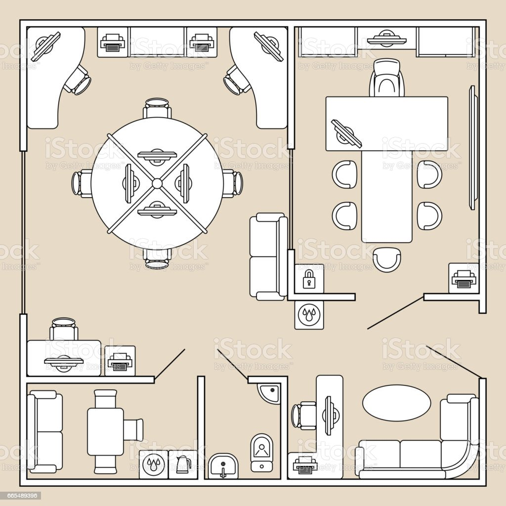 office interior top view architecture plan vector illustration computer monitor floor plan map plan single line office interior top view