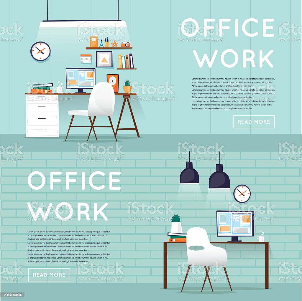 Office interior with designer desktop, business workspace in the office. vector art illustration