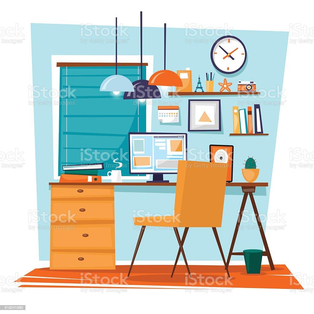 Office interior with designer desktop vector art illustration