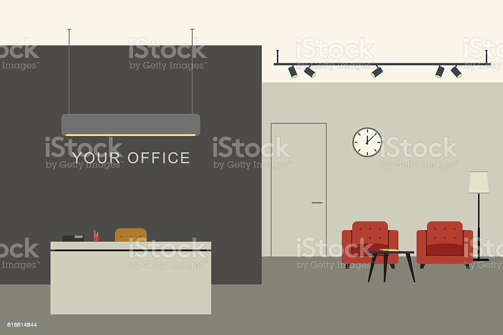 Office interior with reception vector art illustration