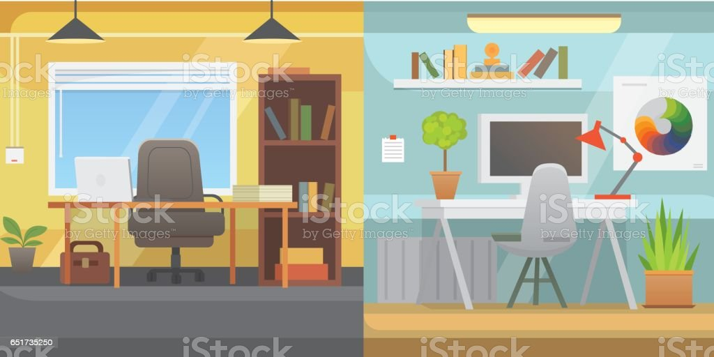 Office interiors horizontal banners. Bussines workplace with computer and table vector art illustration