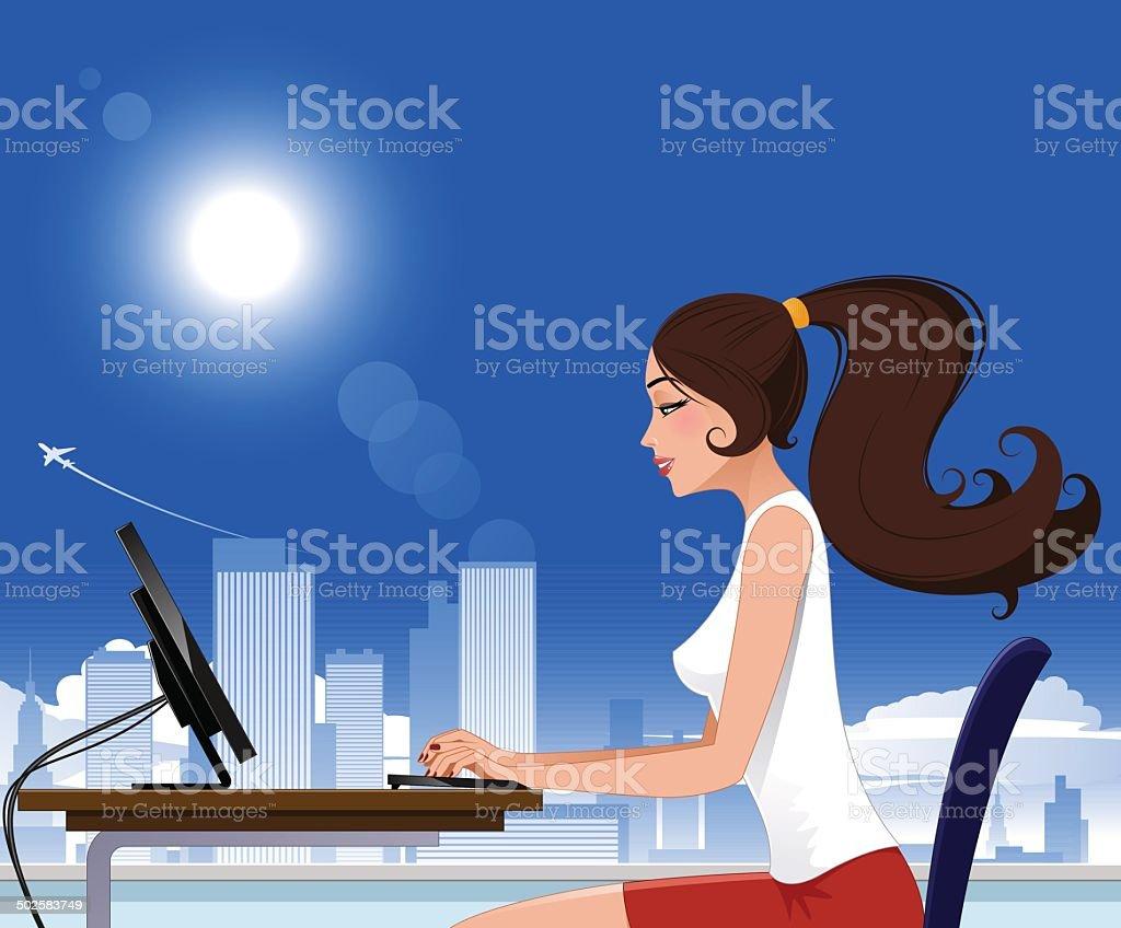 Office job royalty-free stock vector art