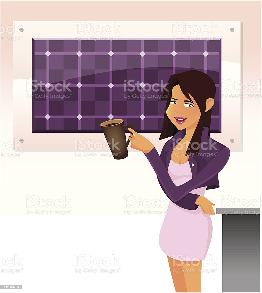 Office lady Standing behind Painting vector art illustration