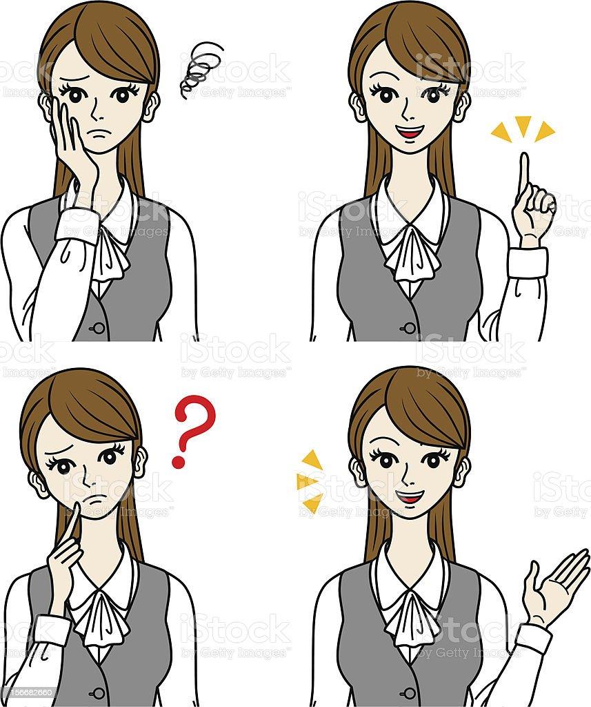 Office Lady various face set vector art illustration