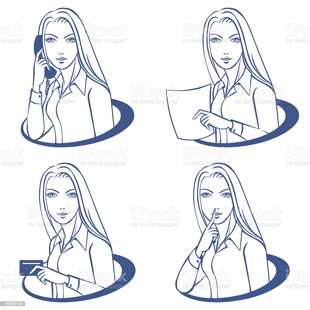 Office Lady with 4 gestures (Blue) royalty-free stock vector art
