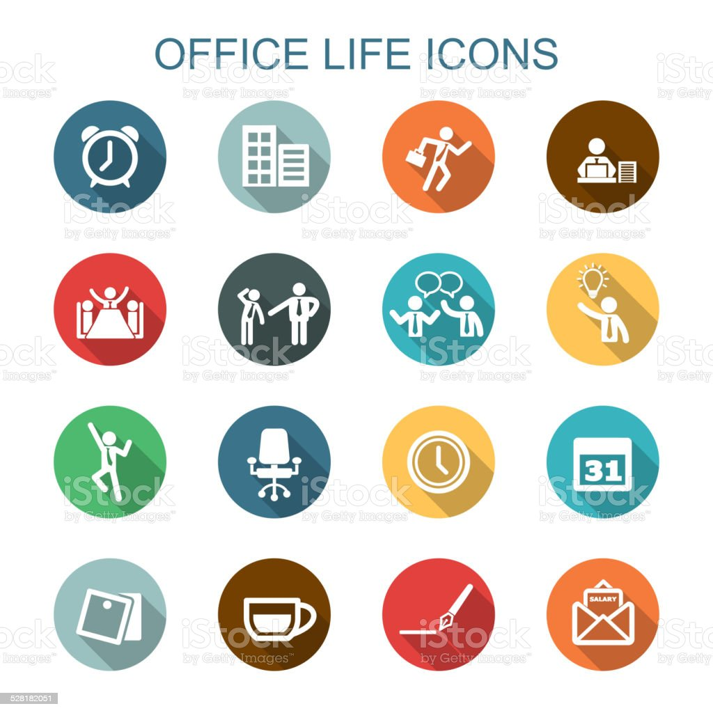 office life long shadow icons vector art illustration