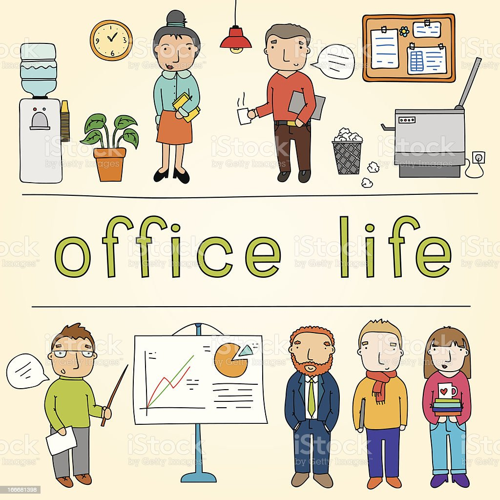 Office life set vector art illustration