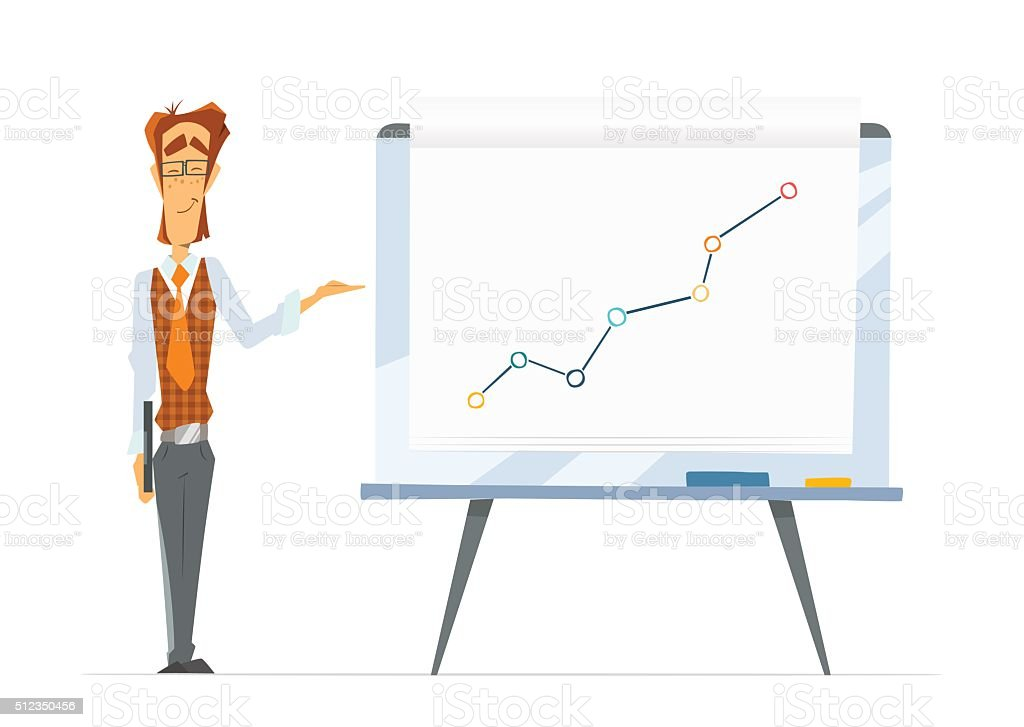 Office man and flip-chart paper board whiteboard with chart grap vector art illustration