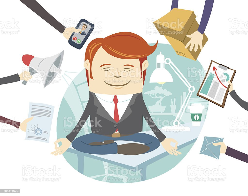 Office man meditating in the middle of busy workday vector art illustration