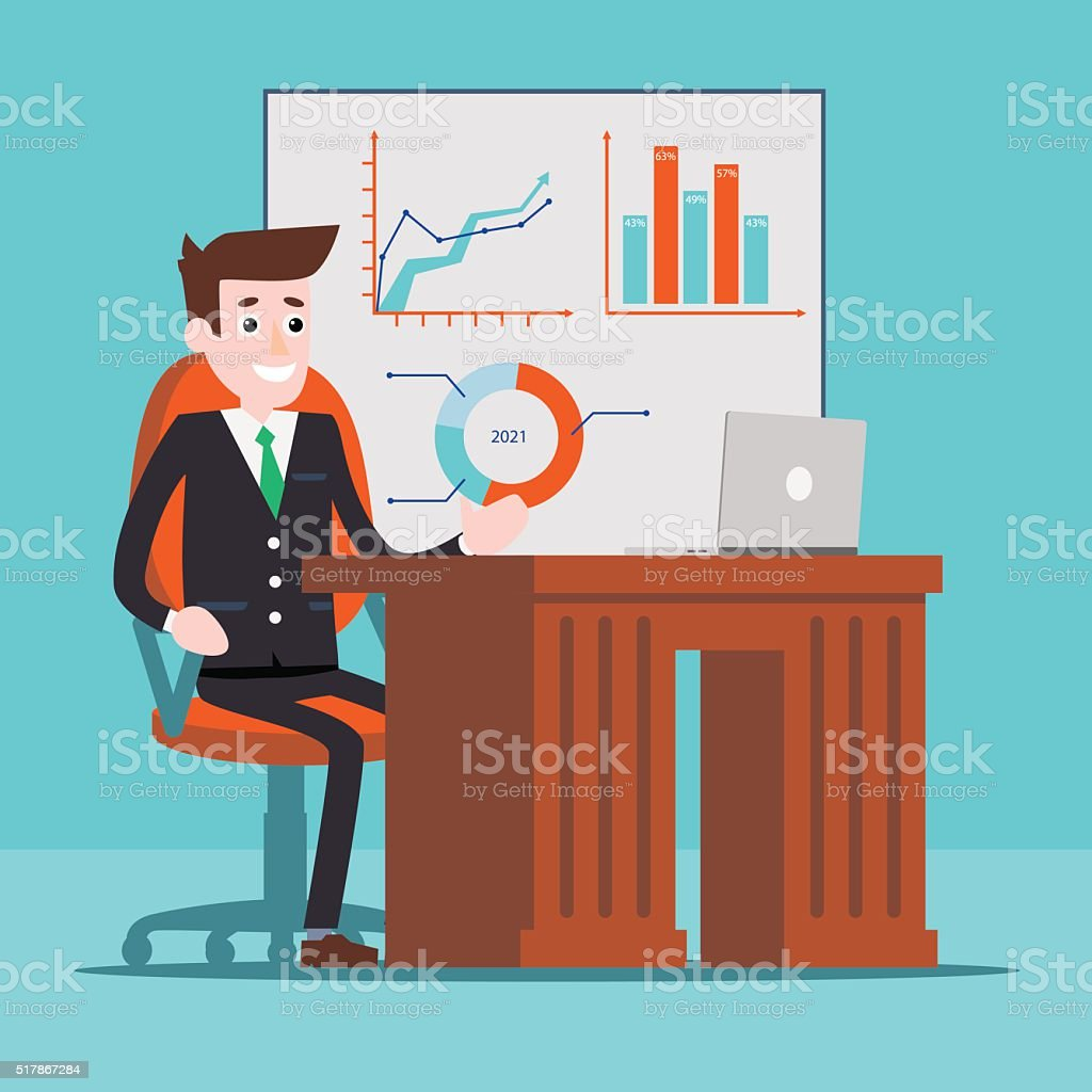Office manager working at computer royalty-free stock vector art