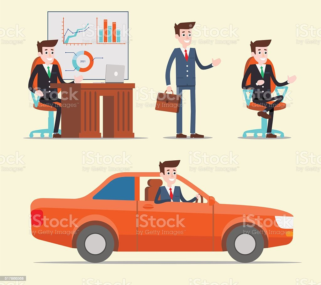Office manager working set royalty-free stock vector art