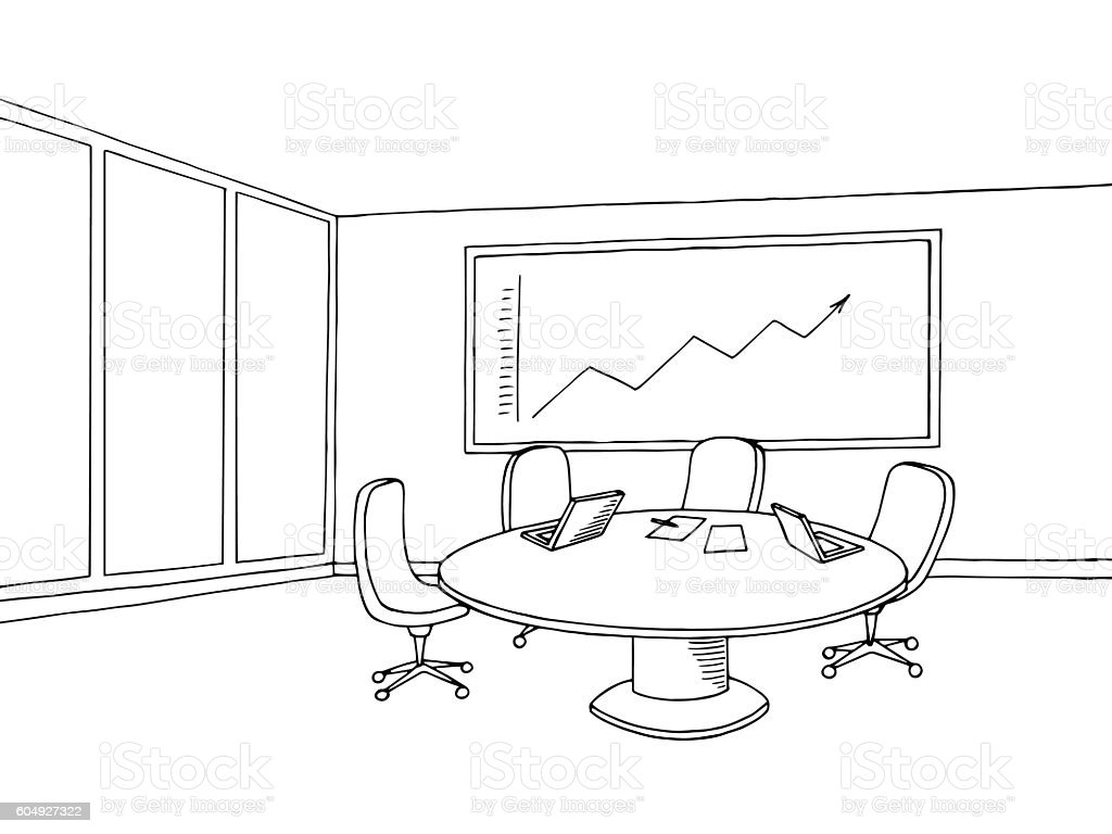 Office meeting room interior black white graphic sketch illustration vector vector art illustration