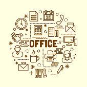 office minimal thin line icons set