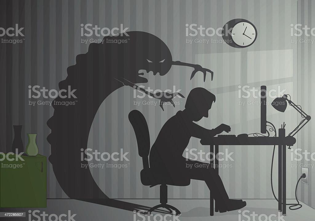 Office monster vector art illustration