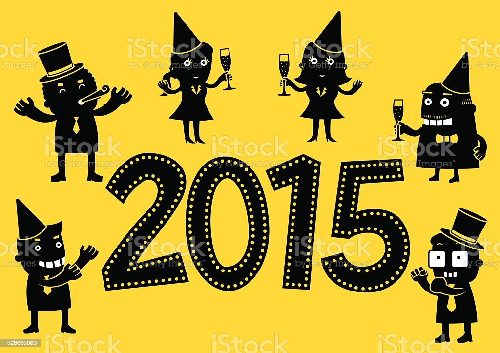 Office New Year Party 2015 | Yellow Business vector art illustration