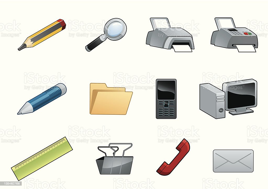 Office objects vector art illustration