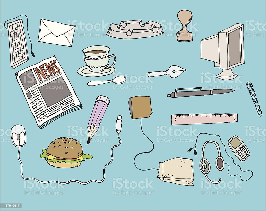 Office objects royalty-free stock vector art