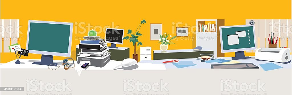 Office openspace. Vector vector art illustration