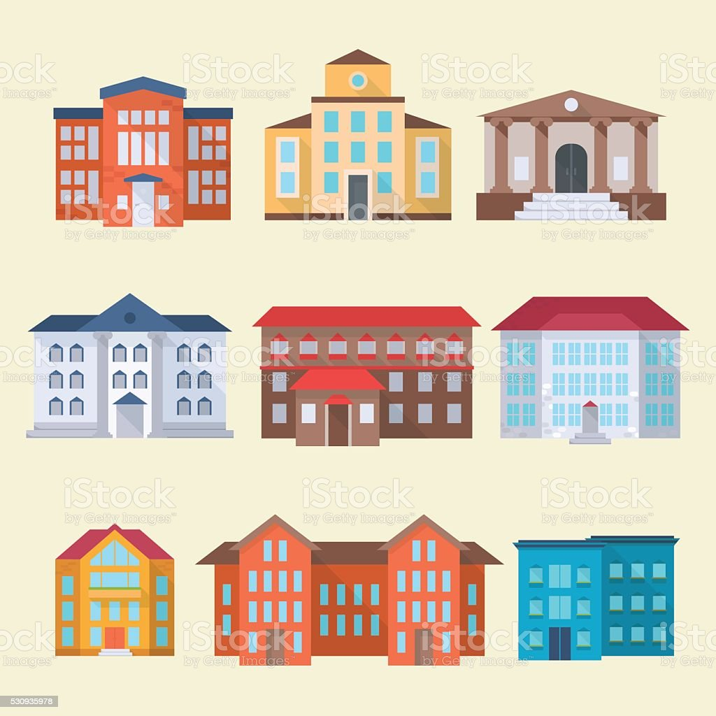 office or administrative buildings vector art illustration
