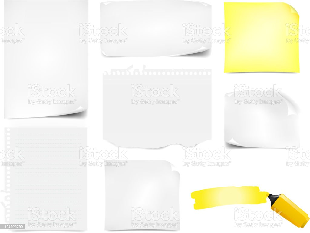 Office Paper Notes Icons Set vector art illustration