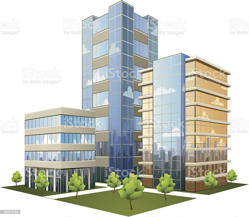 Office Park vector art illustration