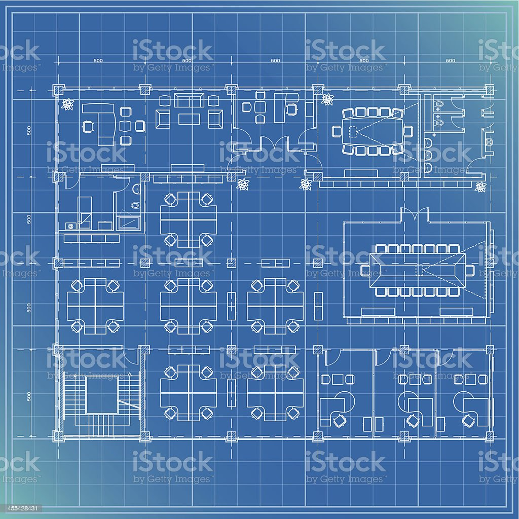 office partial plan with director room vector art illustration