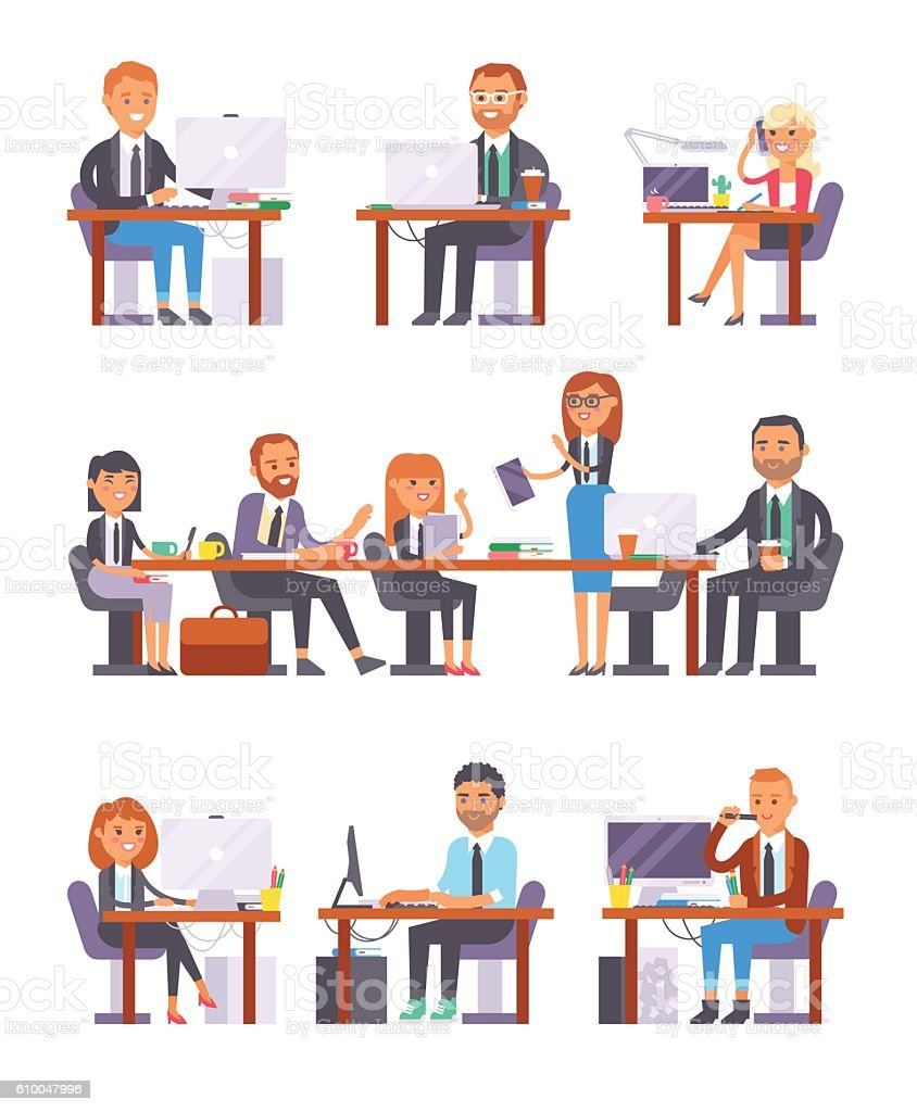 Office people at work vector set. vector art illustration