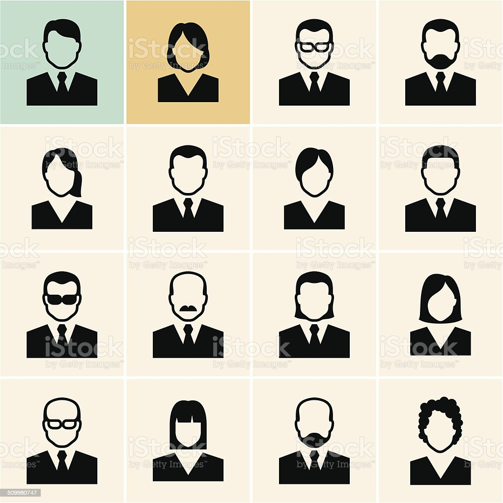 Office people icons set vector art illustration