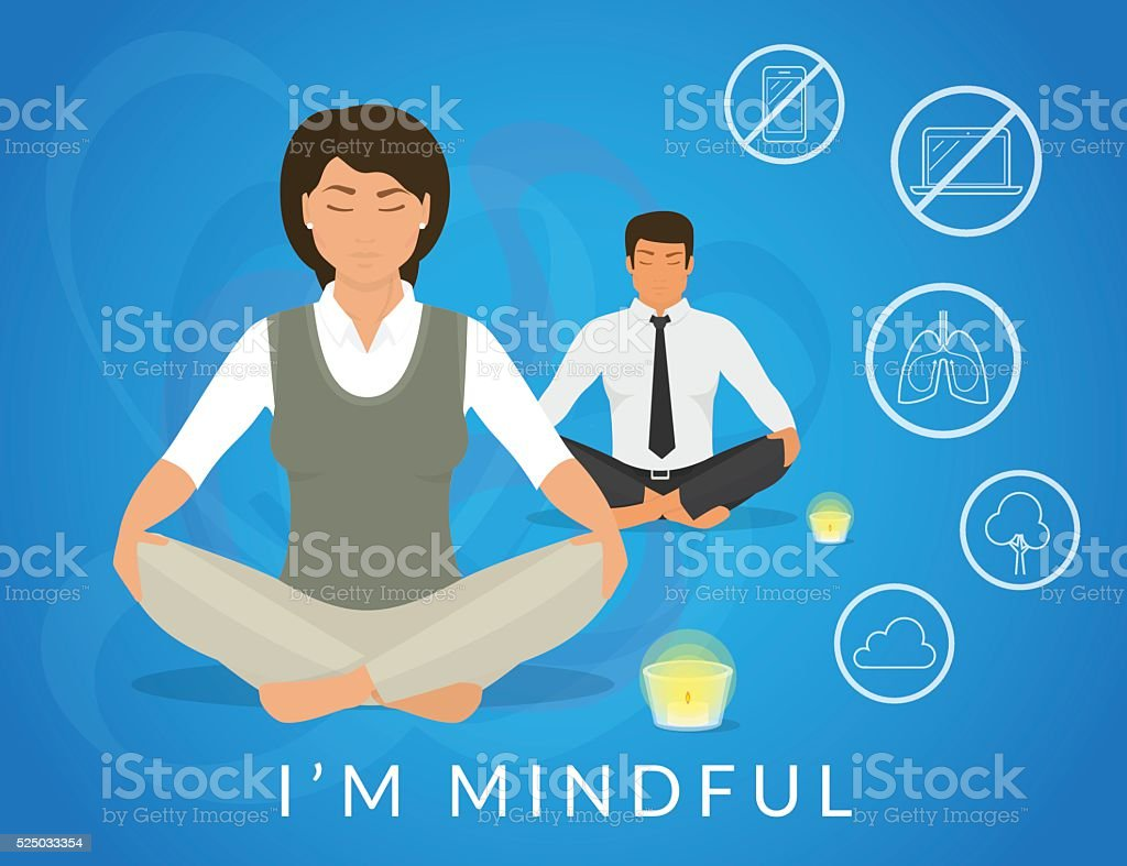 Office people sitting in calm lotus pose and relaxing vector art illustration