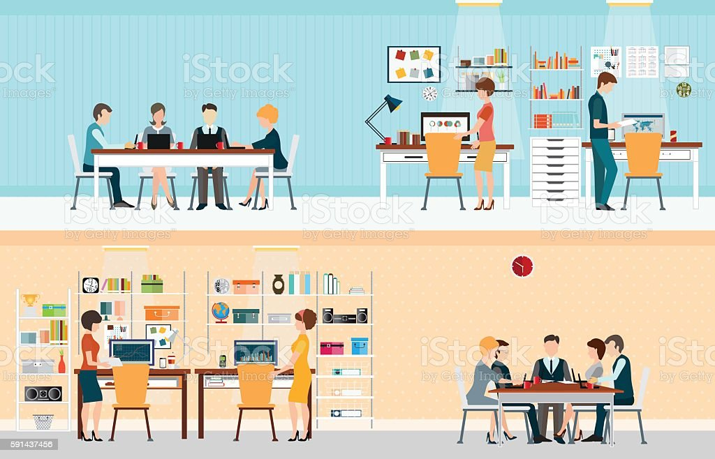 Office people with office desk vector art illustration