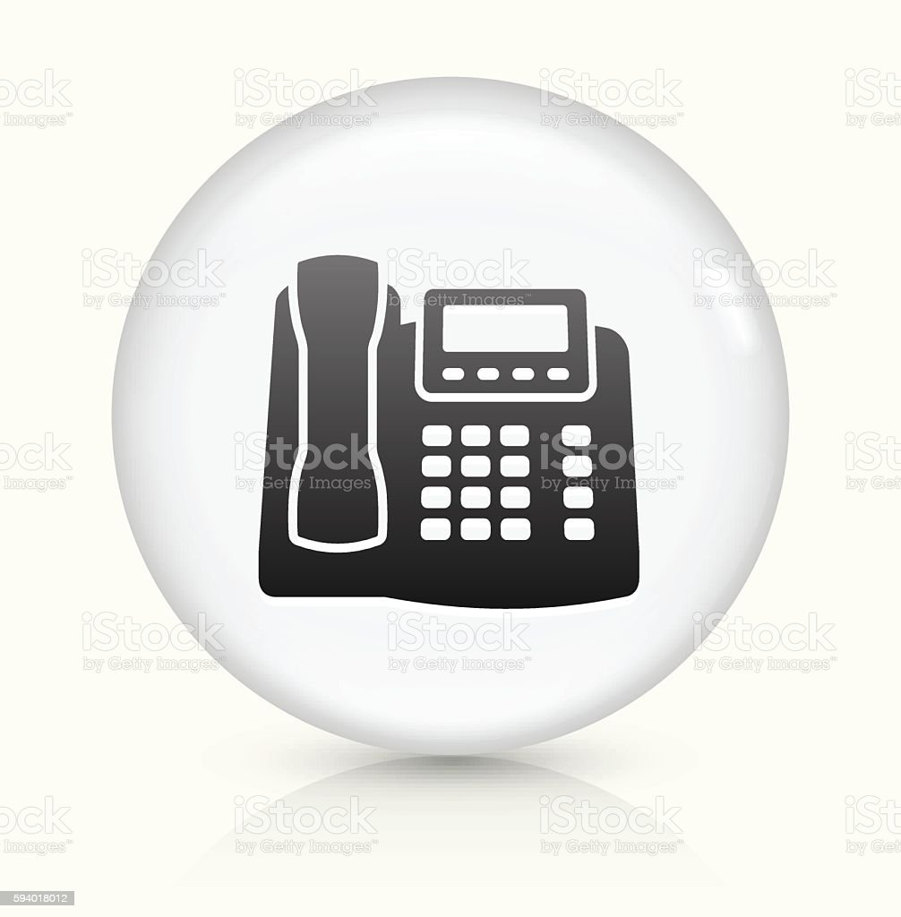 Office Phone icon on white round vector button vector art illustration